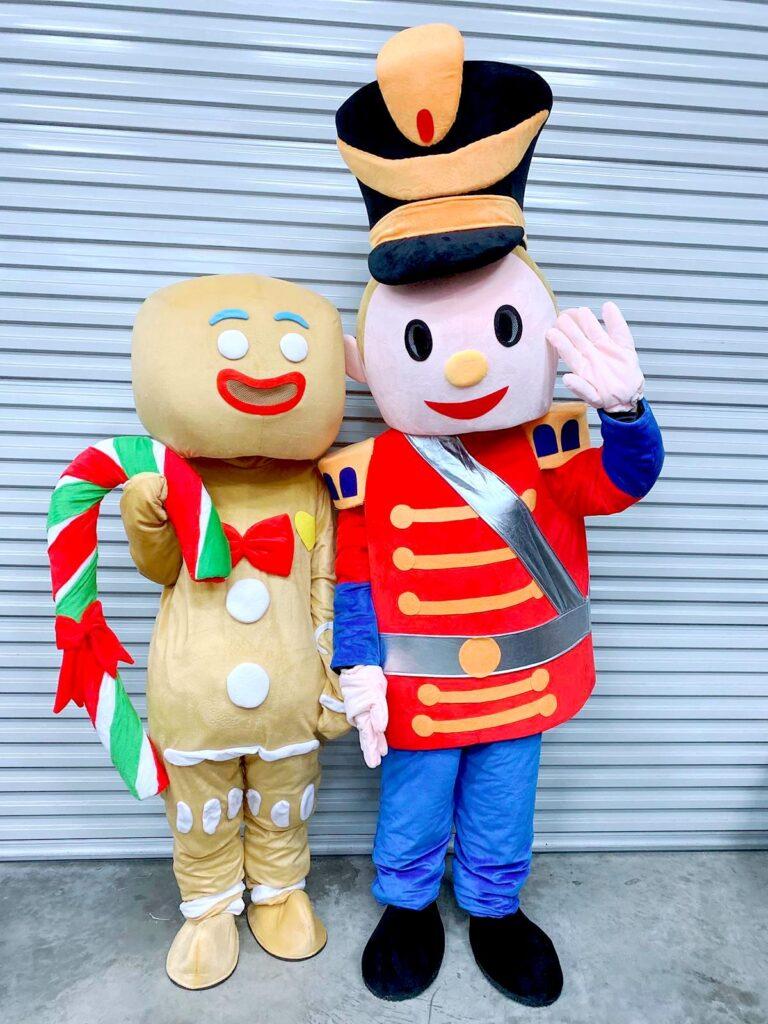 Gingerbread man and Nutcracker mascot costume rental singapore