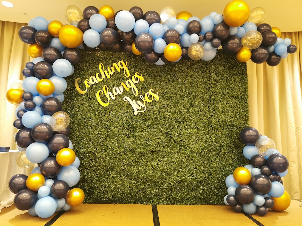 Green Plant Wall Packdrop Rental with Organic Balloon Decorations