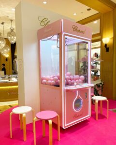 Pink Claw Machine Rental with Branding